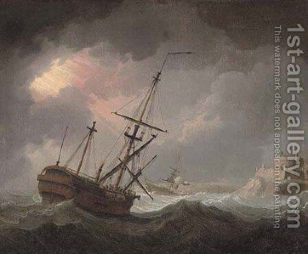 A dismasted warship running into perilous waters by English School - Reproduction Oil Painting