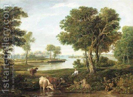 A drover with cattle in a river landscape by English School - Reproduction Oil Painting