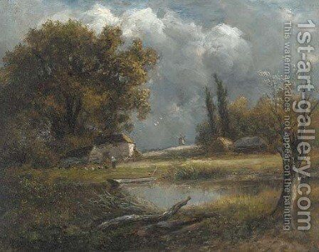 A figure feeding the chickens by a pond in a wooded landscape by English School - Reproduction Oil Painting