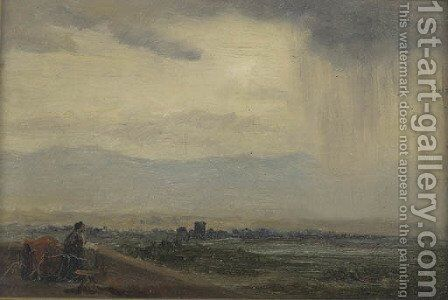 A figure in a stormy landscape by English School - Reproduction Oil Painting