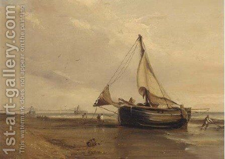 A fishing boat on the shore, Brighton Chain Pier beyond by English School - Reproduction Oil Painting