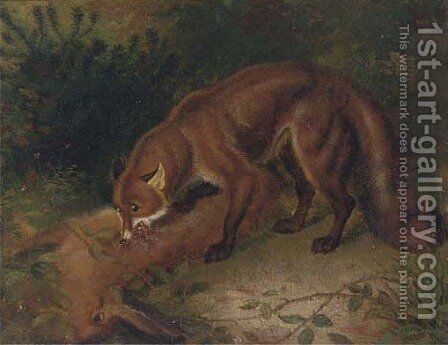 A fox eating a hare by English School - Reproduction Oil Painting