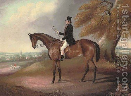 A gentleman and his hunter, a church spire beyond, in an extensive landscape by English School - Reproduction Oil Painting