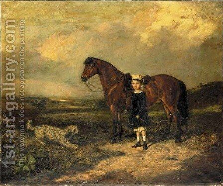 A Girl with her Favourite Pony and Dog in a landscape by English School - Reproduction Oil Painting