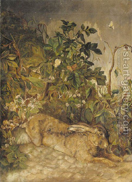A hare resting by some foliage by English School - Reproduction Oil Painting