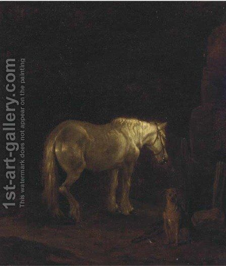 A horse and dog in a dark landscape by English School - Reproduction Oil Painting