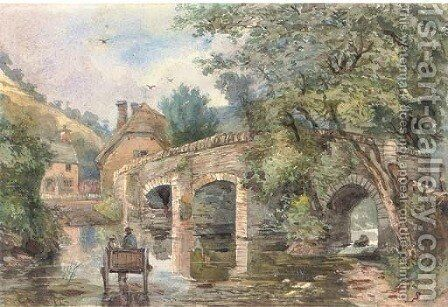 A horse and trap crossing the ford by English School - Reproduction Oil Painting