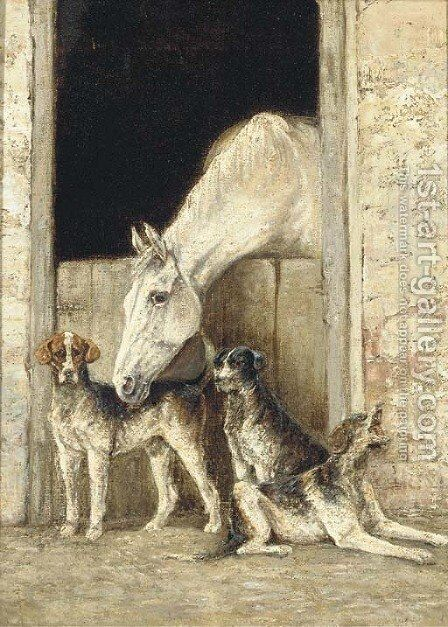 A horse in a stable with dogs beside by English School - Reproduction Oil Painting