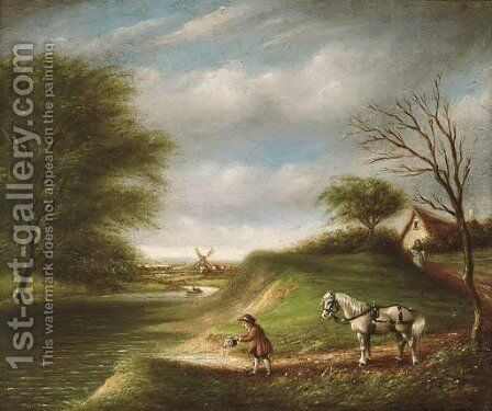 A horseman in a wooded landscape, a windmill beyond by English School - Reproduction Oil Painting