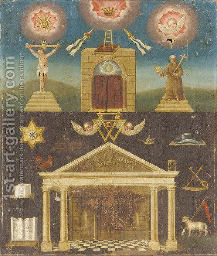A Masonic composition by English School - Reproduction Oil Painting