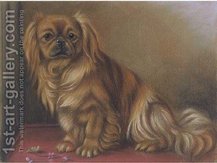 A pekingese on a table by English School - Reproduction Oil Painting