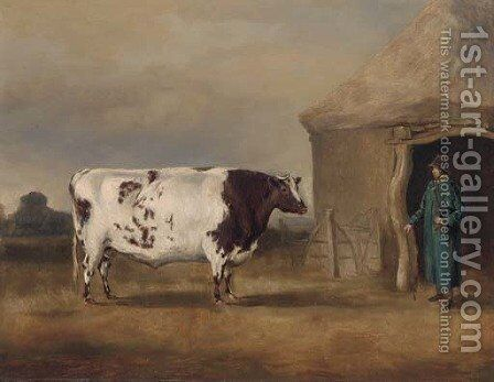 A prize bull before a barn by English School - Reproduction Oil Painting