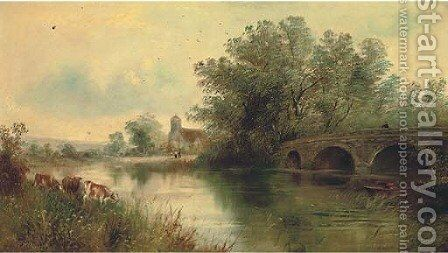A quiet day on the river by English School - Reproduction Oil Painting