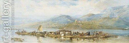 A raft on the Danube by English School - Reproduction Oil Painting