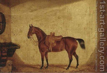 A saddled bay horse in a stable by English School - Reproduction Oil Painting
