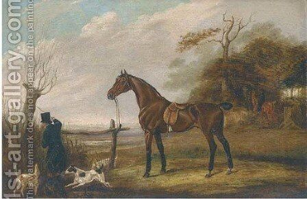 A saddled dark brown hunter in a landscape by English School - Reproduction Oil Painting
