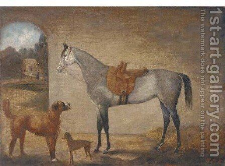 A saddled grey in a stable with two dogs by English School - Reproduction Oil Painting