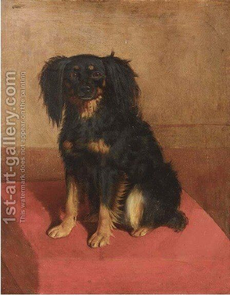 A seated spaniel by English School - Reproduction Oil Painting