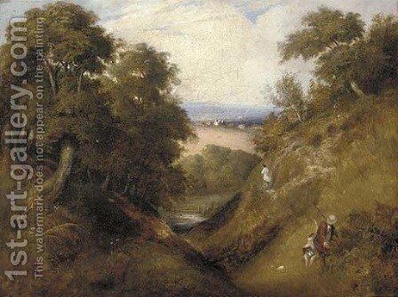 A shooting party in a landscape, thought to be at The Devil's Punch Bowl by English School - Reproduction Oil Painting