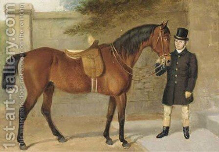 A side saddled hunter held by a groom by English School - Reproduction Oil Painting