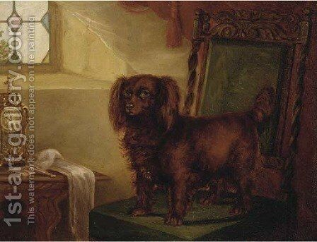 A spaniel in an interior by English School - Reproduction Oil Painting