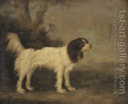 A springer spaniel in a landscape by English School - Reproduction Oil Painting