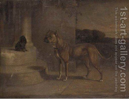A Staffordshire bull terrier with a spaniel on a step by English School - Reproduction Oil Painting