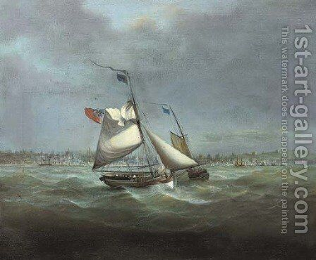 A stiff breeze Heading out to the fishing grounds by English School - Reproduction Oil Painting