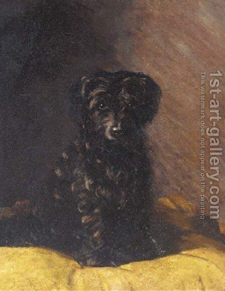A terrier on a cushion by English School - Reproduction Oil Painting
