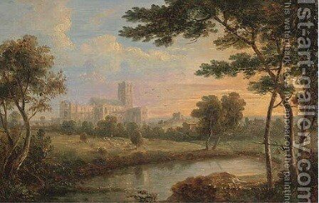 An abbey beside a river; and Fishermen before a ruin by English School - Reproduction Oil Painting