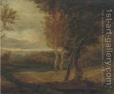 An extensive landscape with a lake, and a manor in the distance by English School - Reproduction Oil Painting