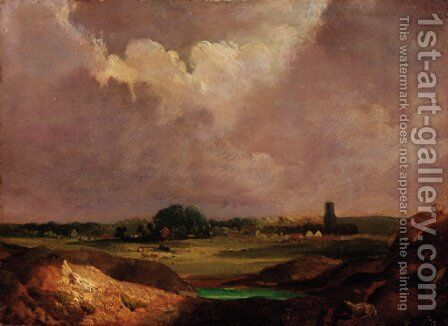 An extensive landscape with a village beyond by English School - Reproduction Oil Painting
