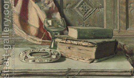 Artefacts from the library by English School - Reproduction Oil Painting