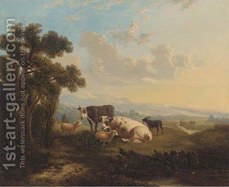 Cattle, sheep and a goat on a hill side by English School - Reproduction Oil Painting