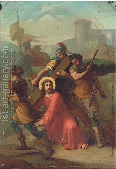 Christ on the road to Golgotha by English School - Reproduction Oil Painting