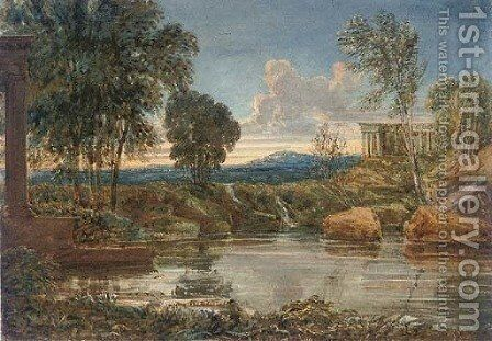 Classical ruins by a lake in an extensive landscape by English School - Reproduction Oil Painting