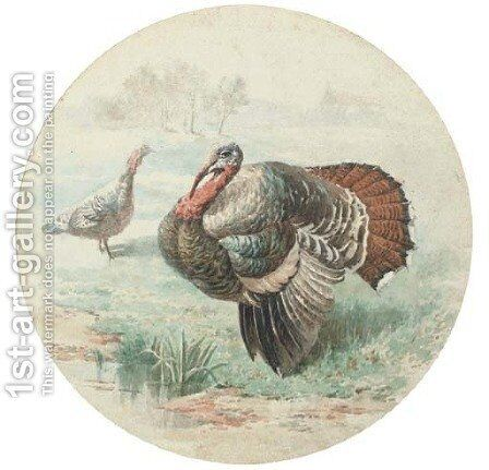 Courting turkeys by English School - Reproduction Oil Painting