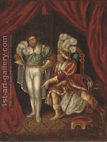 Edmund Kean as Richard III, with the Duke of Buckingham by English School - Reproduction Oil Painting