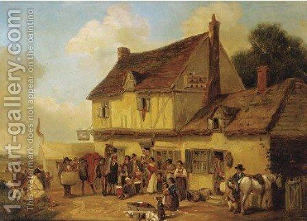 Figures and a camel before the Swan Inn by English School - Reproduction Oil Painting