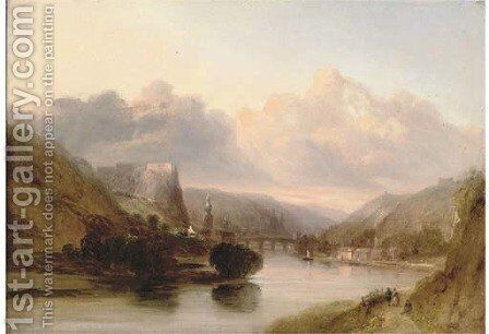 Figures beside a river, thought to be in the Crimea by English School - Reproduction Oil Painting