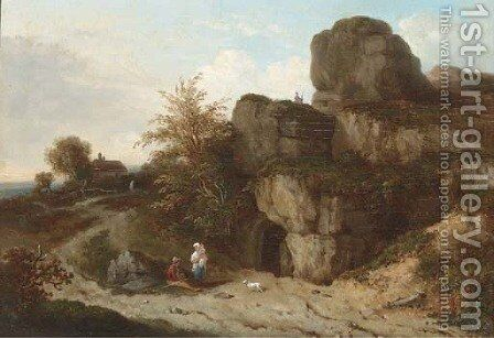 Figures by a cave, near Tunbridge Wells by English School - Reproduction Oil Painting