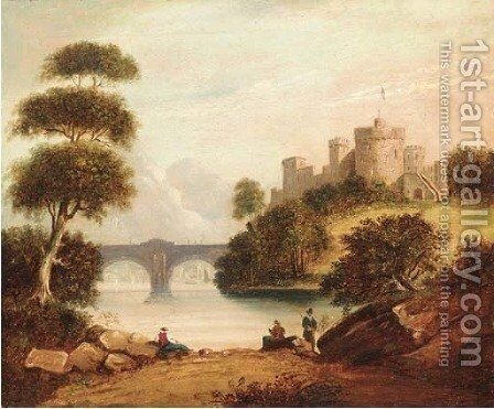 Figures by a river with a hilltop castle beyond by English School - Reproduction Oil Painting