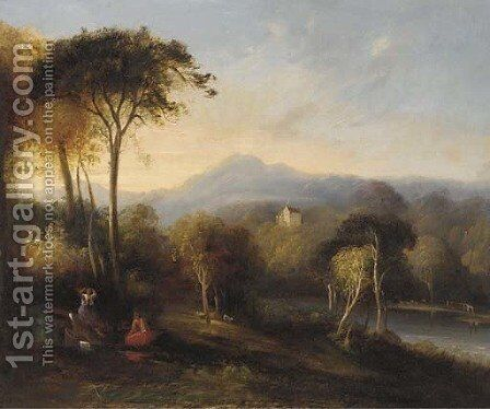Figures in an extensive landscape with a castle beyond by English School - Reproduction Oil Painting