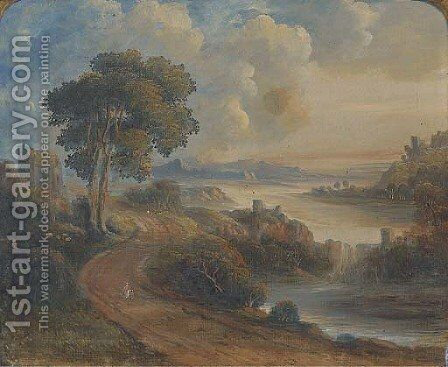 Figures on a coastal path by a ruined tower, an extensive landscape beyond by English School - Reproduction Oil Painting