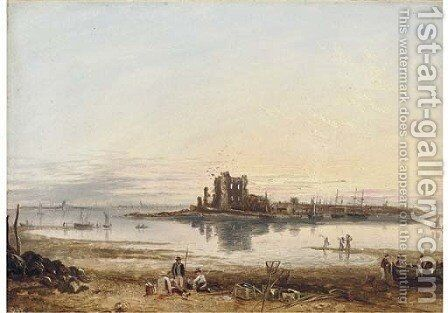 Fishermen on the beach, low tide by English School - Reproduction Oil Painting