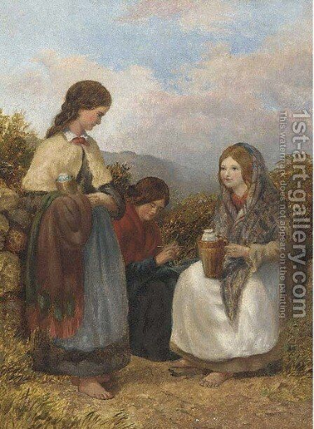 Harvesters resting by English School - Reproduction Oil Painting