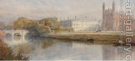 Kings College, Cambridge from across the river by English School - Reproduction Oil Painting