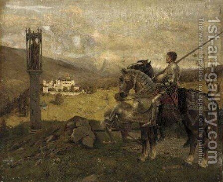Knights before a wayside shrine by English School - Reproduction Oil Painting