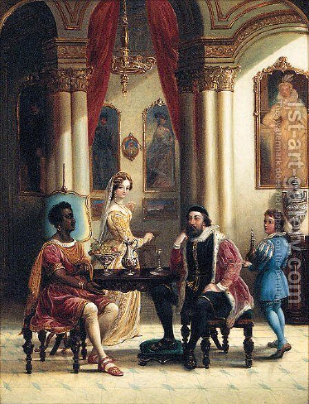 Merchants seated in a classical Interior by English School - Reproduction Oil Painting