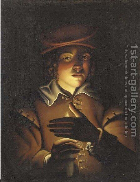A boy holding a candle by English School - Reproduction Oil Painting